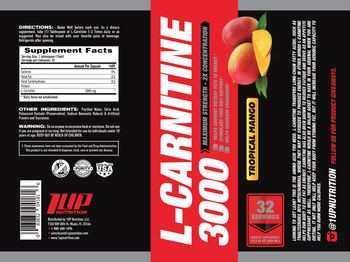 1 Up Nutrition L-Carnitine 3000 Tropical Mango - supplement