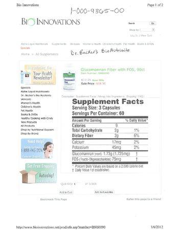 Dr. Becker's BioNutrients Glucomannan Fiber with FOS - supplement