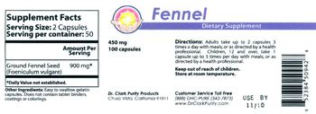 Dr. Clark Purity Products Fennel 450 mg - supplement