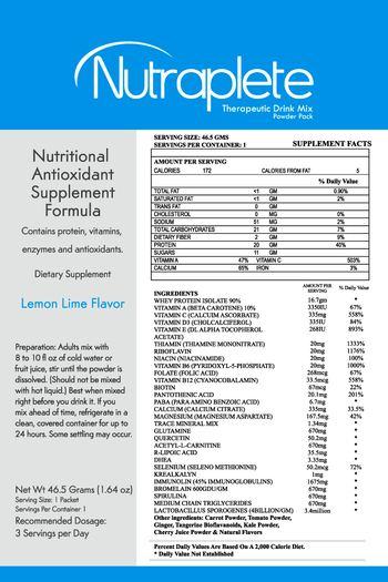 Galea Life Sciences Nutraplete Therapeutic Drink Mix Powder Pack Lemon Lime Flavor - supplement