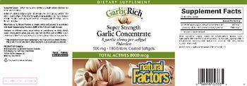 GarlicRich Natural Factors Super Strength Garlic Concentrate - supplement