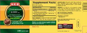 H-E-B Cinnamon 2,000 mg Plus Chromium - herbal supplement