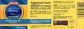 H-E-B High Potency Biotin 1,000 mcg - vitamin supplement
