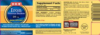 H-E-B Iron Ferrous Sulfate 28 mg - mineral supplement