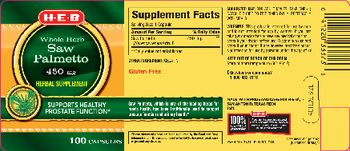 H-E-B Whole Herb Saw Palmetto 450 mg - herbal supplement
