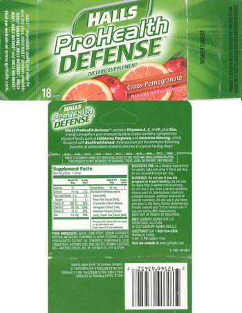Halls Prohealth Defense Citrus-Pomegranate - supplement