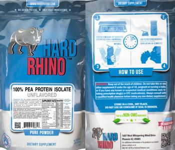 Hard Rhino 100% Pea Protein Isolate Unflavored - supplement