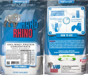 Hard Rhino 100% Whey Protein Concentrate Unflavored - supplement
