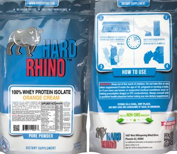 Hard Rhino 100% Whey Protein Isolate Orange Cream - supplement