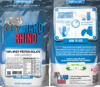Hard Rhino 100% Whey Protein Isolate Unflavored - supplement