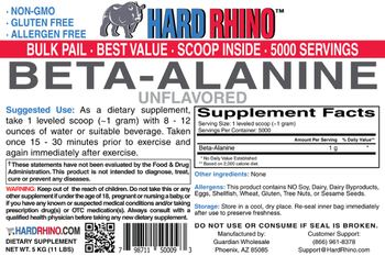 Hard Rhino Beta-Alanine Unflavored - supplement