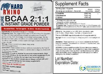 Hard Rhino Pure BCAA 2:1:1 Instant Grade Powder - supplement