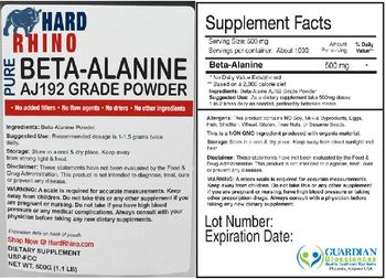 Hard Rhino Pure Beta-Alanine AJ192 Grade Powder - supplement