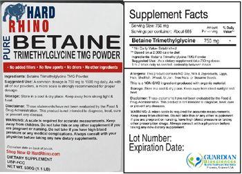 Hard Rhino Pure Betaine Trimethylglycine TMG Powder - supplement