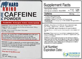 Hard Rhino Pure Caffeine Powder -