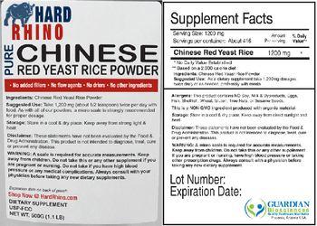 Hard Rhino Pure Chinese Red Yeast Rice Powder - supplement