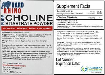 Hard Rhino Pure Choline Bitartrate Powder - supplement