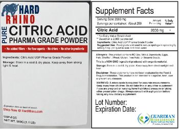 Hard Rhino Pure Citric Acid Pharma Grade Powder -