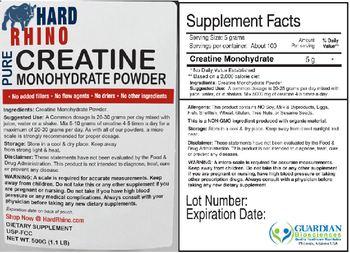Hard Rhino Pure Creatine Monohydrate Powder - supplement