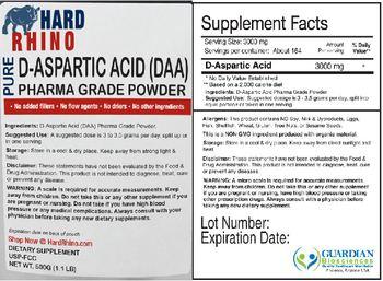 Hard Rhino Pure D-Aspartic Acid (DAA) Phara Grade Powder - supplement