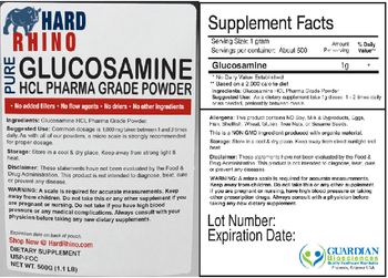 Hard Rhino Pure Glucosamine HCL Phara Grade Powder - supplement