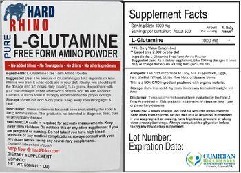 Hard Rhino Pure L-Glutamine Free Form Amino Powder - supplement