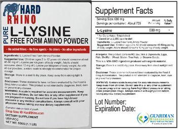 Hard Rhino Pure L-Lysine Free Form Amino Powder - supplement