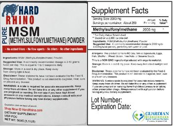 Hard Rhino Pure MSM (Methylsulfonylmethane) Powder - supplement