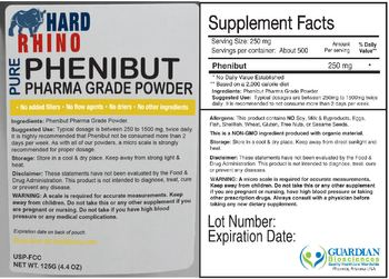Hard Rhino Pure Phenibut Pharma Grade Powder -