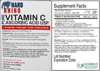 Hard Rhino Pure Vitamin C Ascorbic Acid USP - supplement