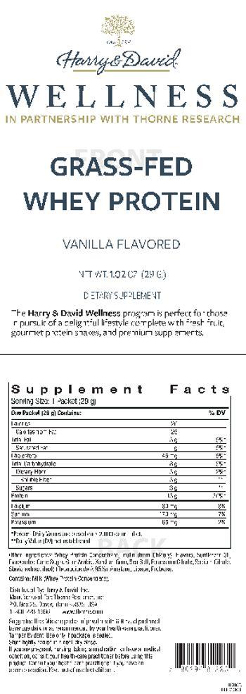 Harry & David Grass-Fed Whey Protein Vanilla Flavored - supplement