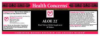 Health Concerns Aloe 22 - black walnut herbal supplement