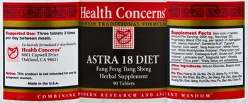 Health Concerns Astra 18 Diet - fang feng tong sheng herbal supplement