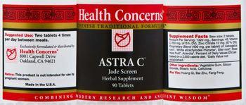 Health Concerns Astra C - jade screen herbal supplement