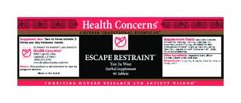 Health Concerns Escape Restraint - herbal supplement