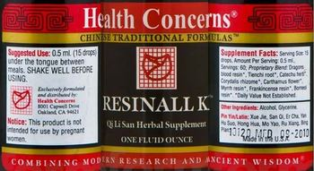 Health Concerns Resinall K - qi li san herbal supplement