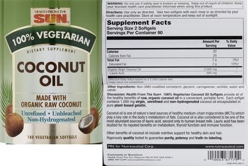 Health From The Sun Coconut Oil - supplement