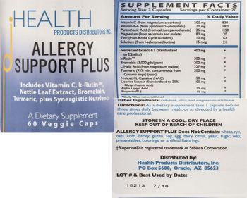 HEALTH PRODUCTS DISTRIBUTORS INC. Allergy Support Plus - supplement