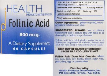 HEALTH PRODUCTS DISTRIBUTORS INC. Folinic Acid 800 mcg. - supplement
