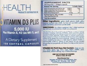 HEALTH PRODUCTS DISTRIBUTORS INC. Vitamin D3 Plus 5,000 IU - supplement
