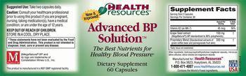 Health Resources Advanced BP Solution - supplement