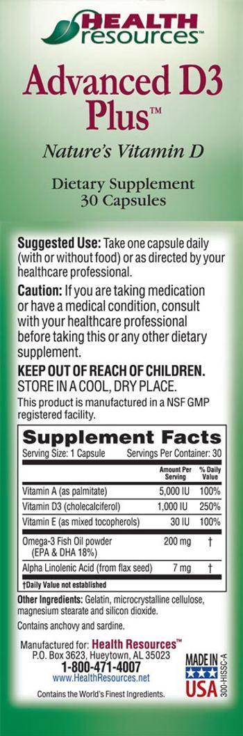 Health Resources Advanced D3 Plus - supplement