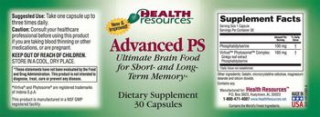 Health Resources Advanced PS - supplement