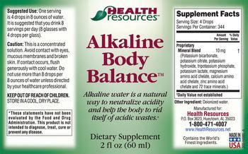 Health Resources Alkaline Body Balance - supplement