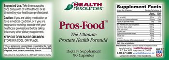 Health Resources Pros-Food - supplement