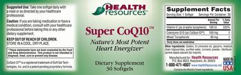 Health Resources Super CoQ10 - supplement