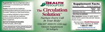 Health Resources The Circulation Solution - supplement