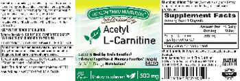 Health Thru Nutrition Naturally Acetyl L-Carnitine 500 mg - supplement
