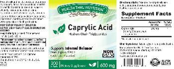 Health Thru Nutrition Naturally Caprylic Acid 600 mg - supplement