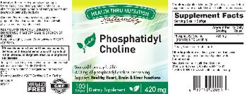 Health Thru Nutrition Naturally Phosphatidyl Choline 420 mg - supplement